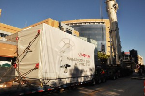 Photo of Mevion S250 accelerator being delivered to the UF Health Cancer Center.
