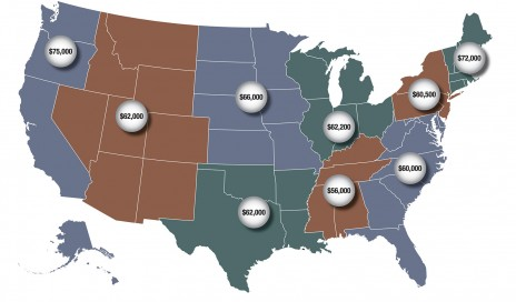 US map showing BMET3 salaries by region