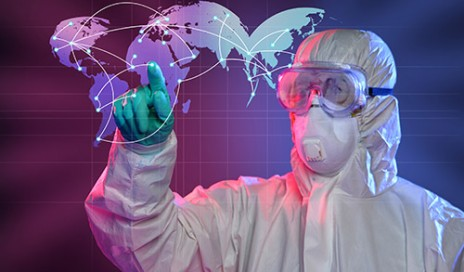 © Ginosphotos | Dreamstime.com - Scientist Touching Screen Where Ebola Virus Started Photo