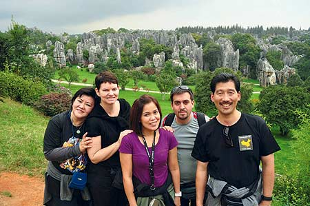 Michael Y. Young (far right) shares this photo of volunteers from Ecuador, Saudi Arabia, and the Philippines at the limestone formations at the Stone Forest in the Yunnan Province, People's Republic of China, after his Operation Smile mission in Yuxi, China.