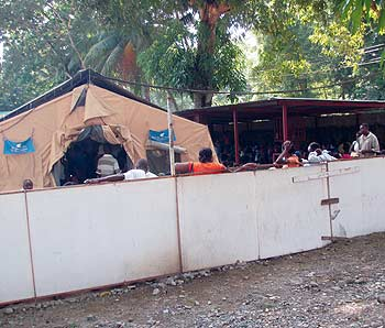 David Sieminski's photo of the general clinic at Hôpital Sacré Coeur in Milot, Haiti, where patients came first thing in the morning each day.